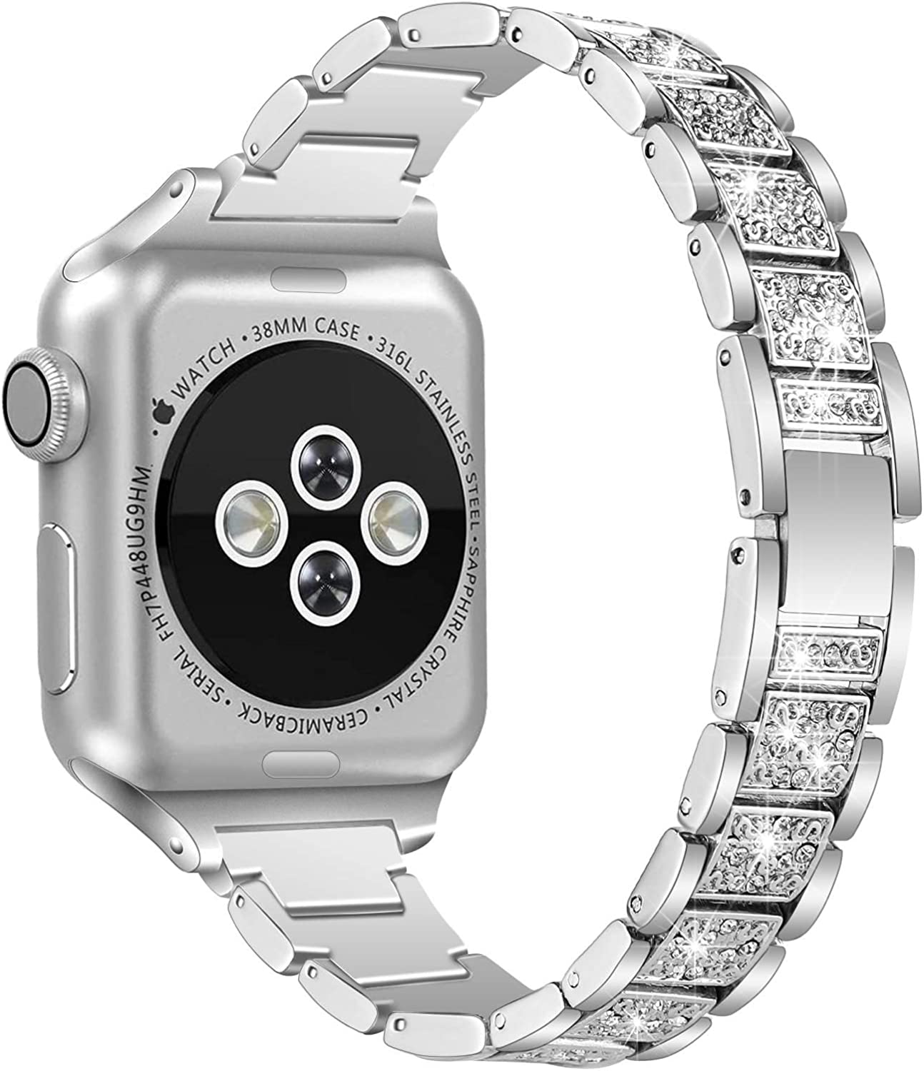 QRose Bands Compatible with Apple Watch 38mm 40mm 42mm 44mm, Slim Thin Narrow Replacement Metal with Diamond Rhinestone Bracelet Accessory Strap Wristband Compatible for iWatch Series SE 1/2/3/4/5/6