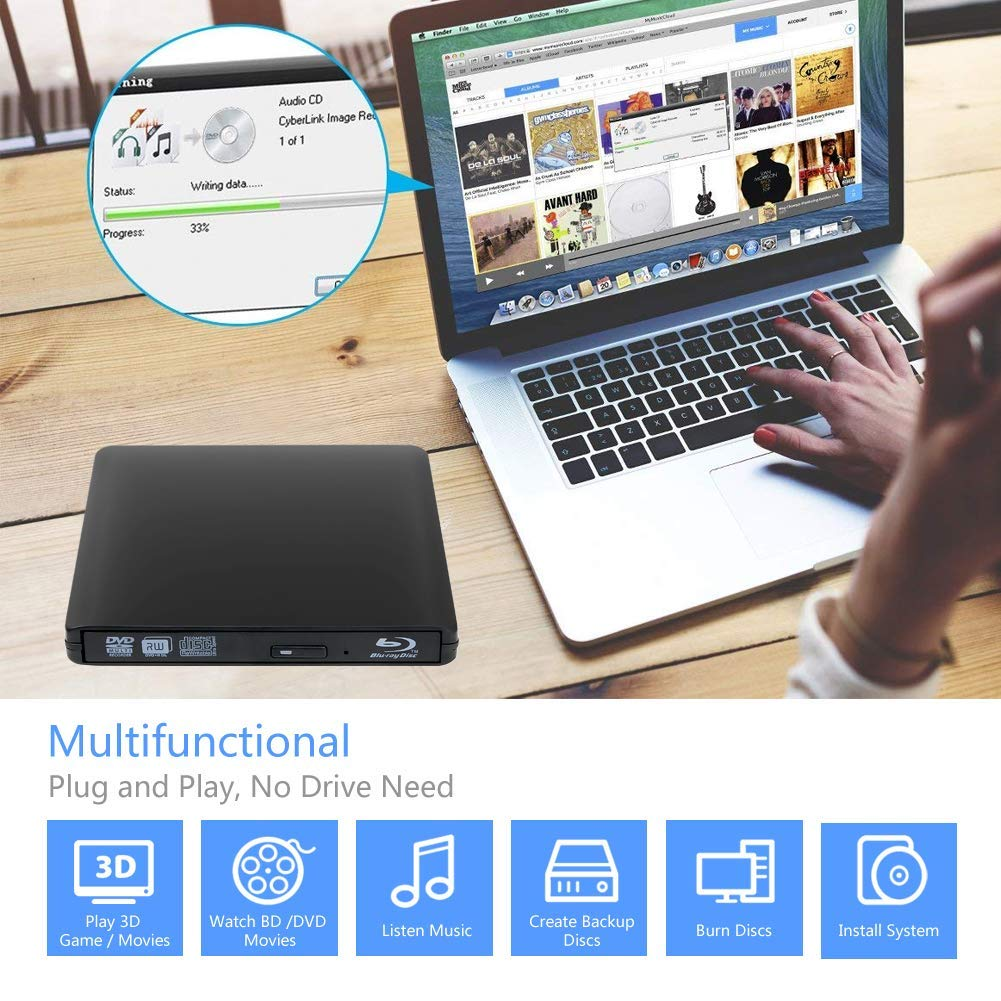 External 4K 3D Blu Ray DVD Drive Burner, Portable Ultra Slim USB 3.0 Blu Ray BD CD DVD Burner Player Writer Reader Disk for Mac OS, Windows 7/8/10,Linxus, Laptop by MOGLOR (Image #5)