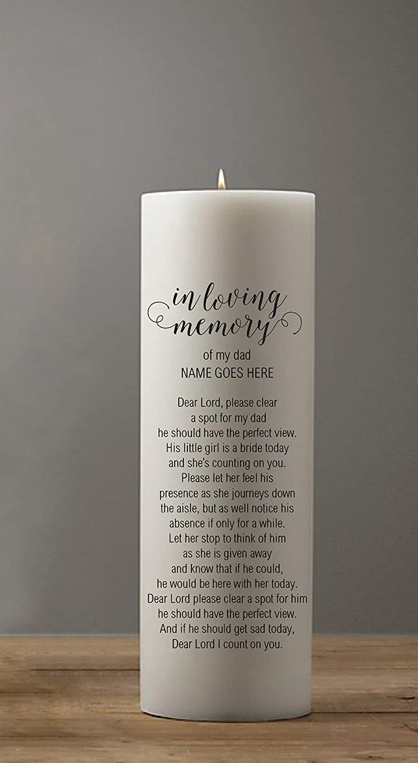Amazon.com : In Memory Candle Honoring a Deceased Mother or Father for  Weddings : Everything Else
