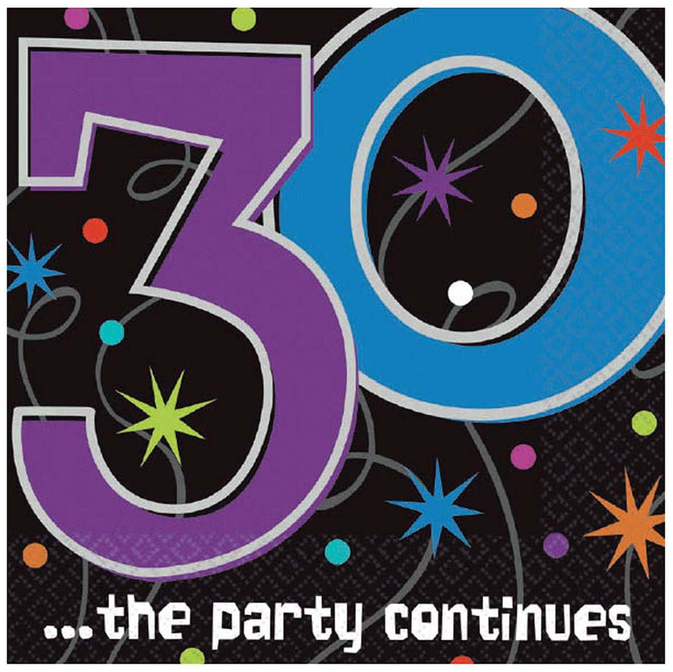 ''30 ...the party continues'' Luncheon Napkins, Party Favor, 192 Ct.