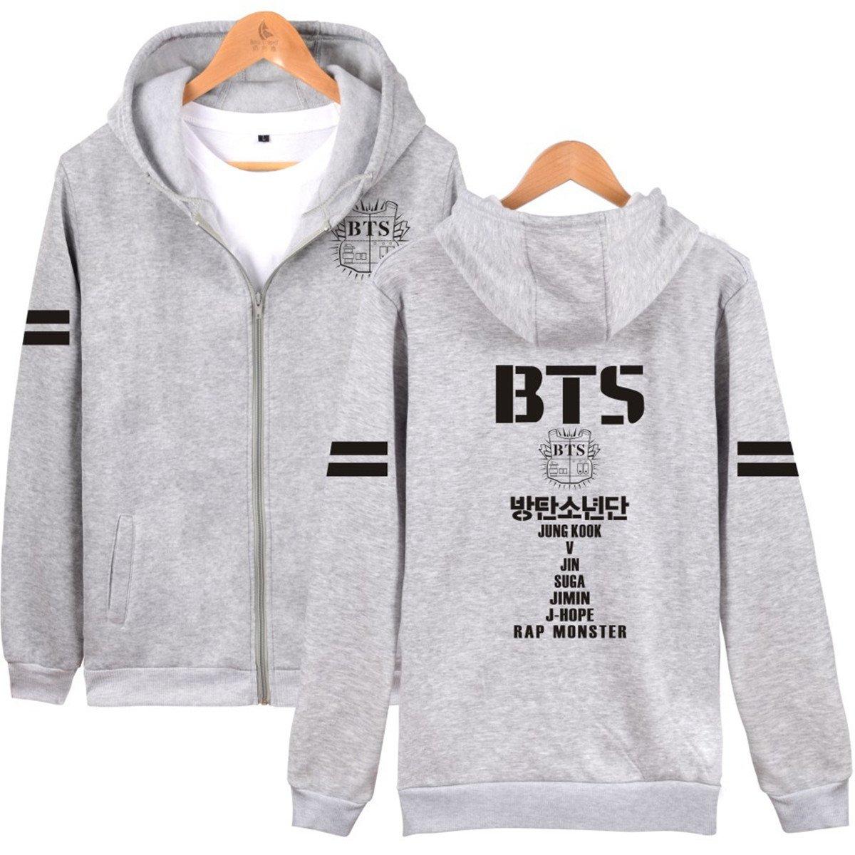BTS Love Yourself Logo Sweater Monster Hoodie Unisex Zip and Pocket Jacket