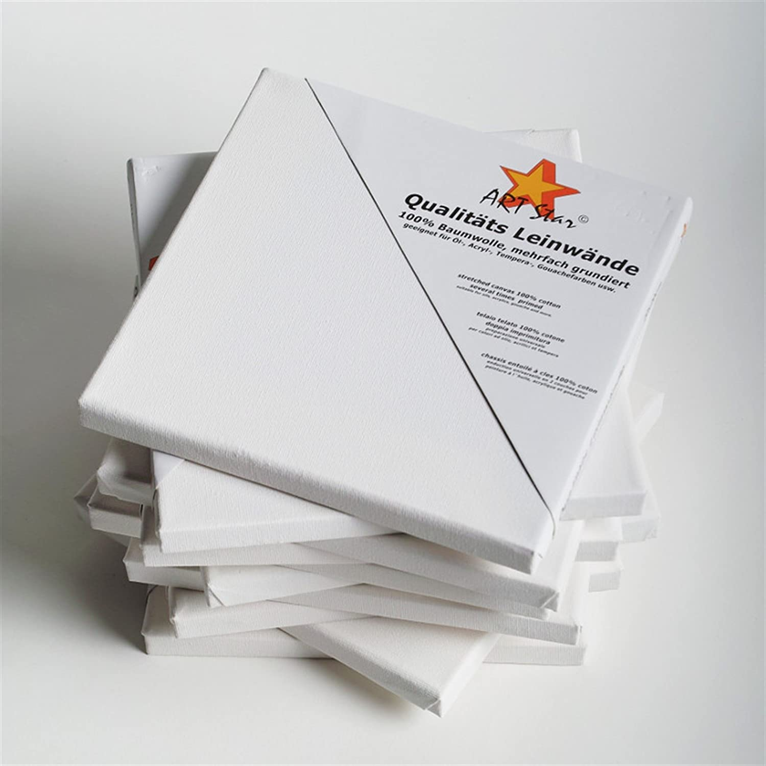 ready-to-paint 100/% cotton 30x30 cm for beginners BK BILDERRAHMEN KOLMER 10 ART-STAR STRETCHED CANVASES ~12x12