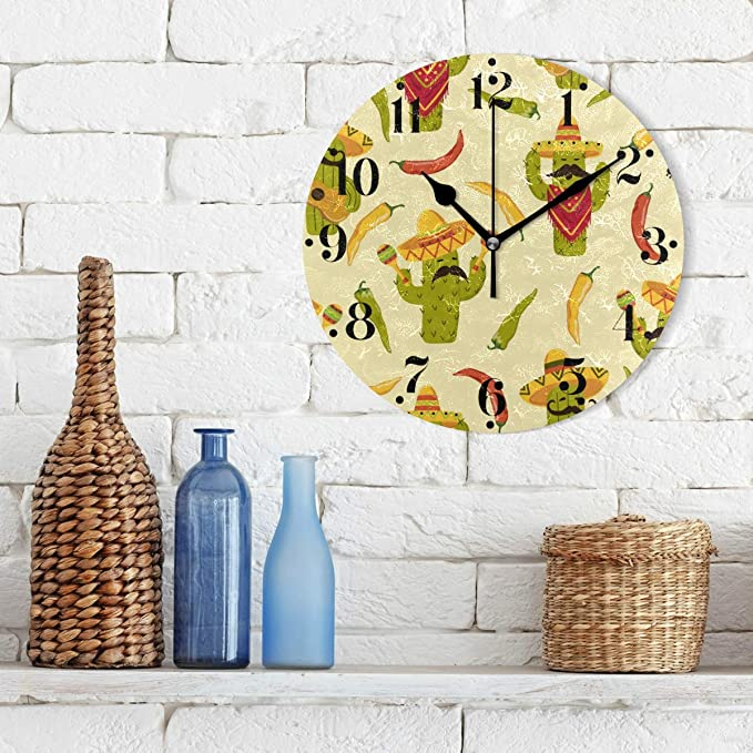 Pepper Wall Decorations - Cartoon Cactus and Chili Pepper Wall Clocks