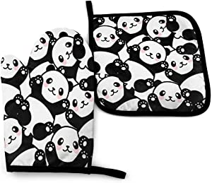Foruidea Funny Panda Oven Mitts and Pot Holders Sets Kitchen Heat Resistant Oven Gloves for BBQ Cooking Baking, Grilling, Machine Washable (2-Piece Sets)
