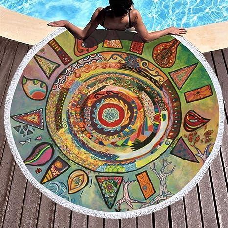 Stillshine Toalla de Playa Redonda/Pareo de Playa/Toalla de natación/Tapiz de