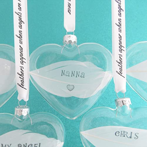 Personalised White Feather Hand Stamped 3d Heart Bauble Glass