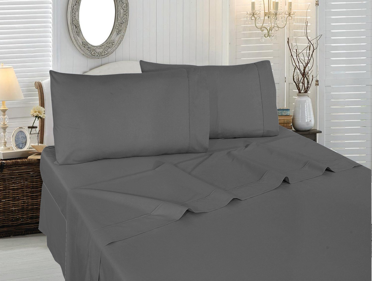 Utopia Bedding Soft Brushed Microfiber Wrinkle Fade and Stain Resistant 4-Piece King Bed Sheet Set - Grey