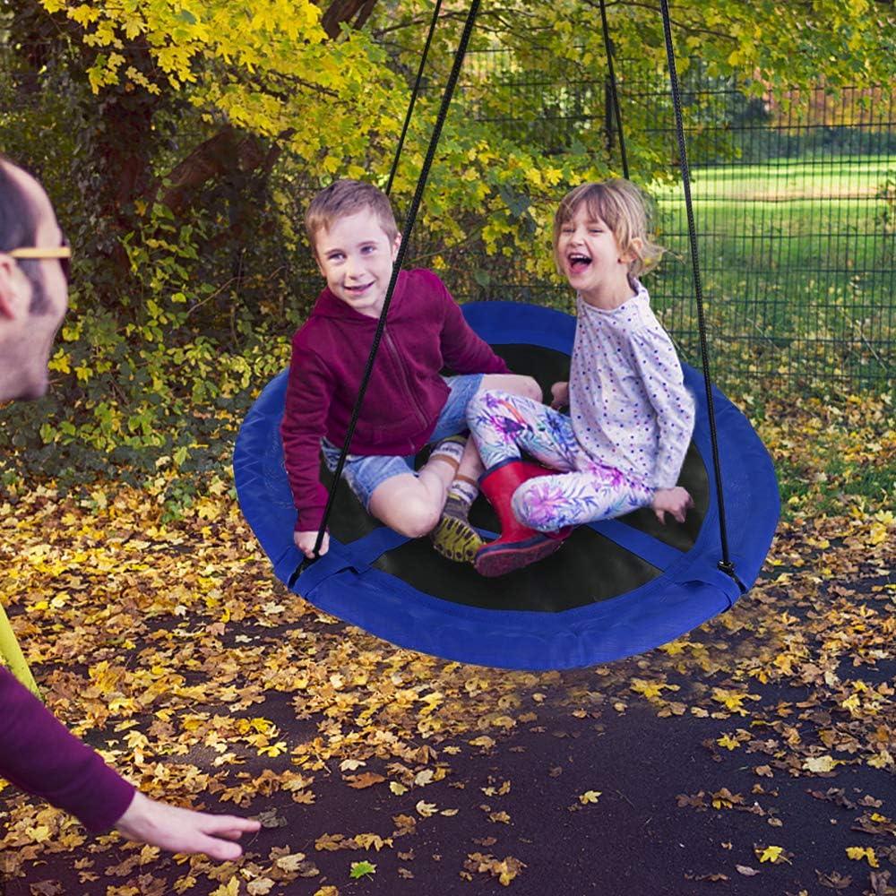 TONZE Columpios Infantiles Jardin Exterior Interior Columpio Redondo Plegable con Cuerda Ajustable y Ganchos Carga 150kg para Ni/ño 3 4 5 6 7 A/ños