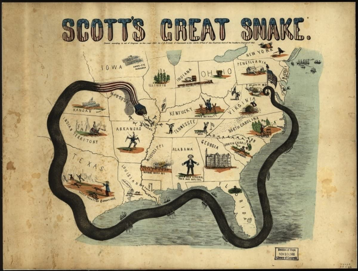 INFINITE PHOTOGRAPHS Map: 1861 Scott's Great Snake. Entered According to Act of Congress in The Year 1861 Anaconda Plan|Civil War|History|