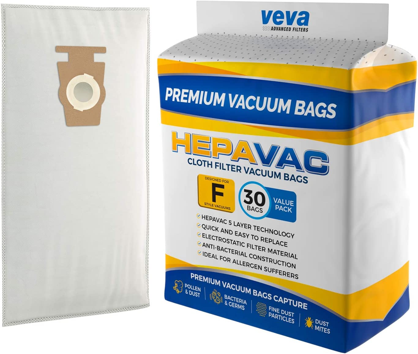 VEVA 30 Pack Premium HEPA Vacuum Bags Style F Cloth Bag Compatible with Kirby Replacement Type F, Q, 204808 204811 Avalir, Sentria I, II, G10D, Ultimate G, Diamond; G3, G4, G5, G6, G7 Cleaners -