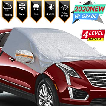MARKSIGN Universal Fit Windshield Snow and Frost Cover for Large SUVs and Pickup Trucks Anti-Theft Tuck-in Flaps Mirror Covers Included Cotton Lined PEVA Fabric