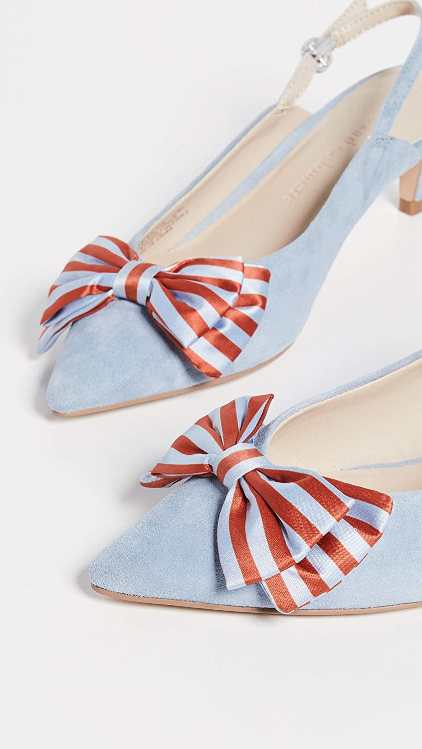 cupcakes and cashmere Womens Jevlyn Bow Slingbacks Azure 7.5 Medium US Stripe Blue