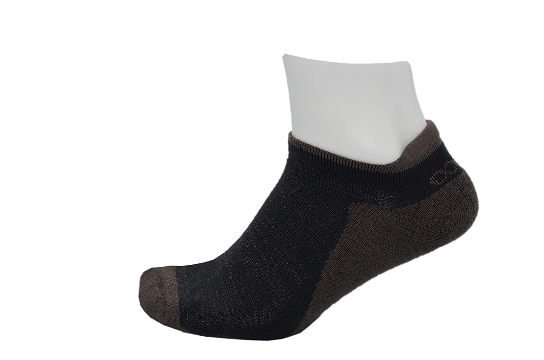 No Smell Silver Fiber Brown /& Black Mens Athletic Blister Free Socks