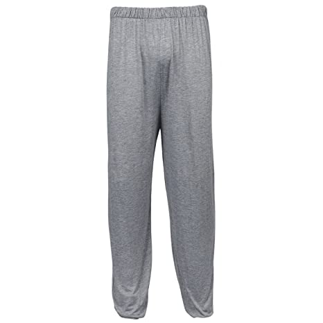 SODIAL(R) yoga pants Loose Modal bloomers pants home tai chi harem joggers sweat Pants both men and women-Light Grey,XXL
