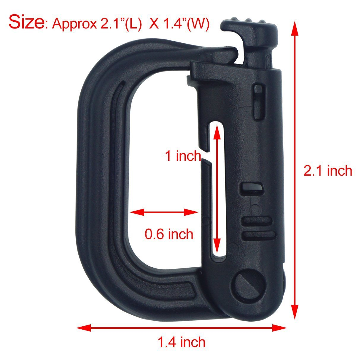 Weareal 12 Pack Multipurpose D-Ring Grimloc Locking Tactical Gear Clip for Molle Pouch Webbing Backpack Straps (Black)