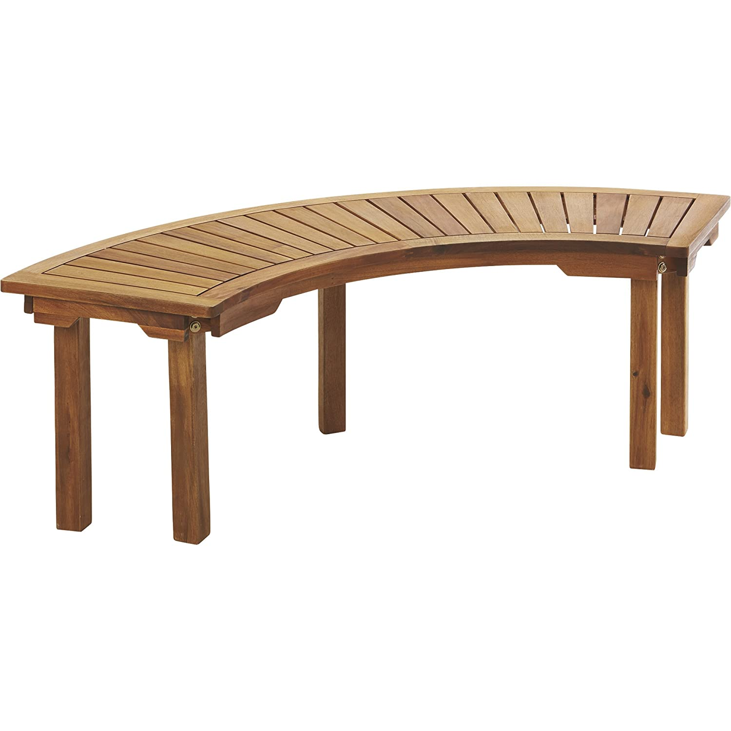 Wondrous Curved Acacia Wood Backless Bench Natural Ncnpc Chair Design For Home Ncnpcorg