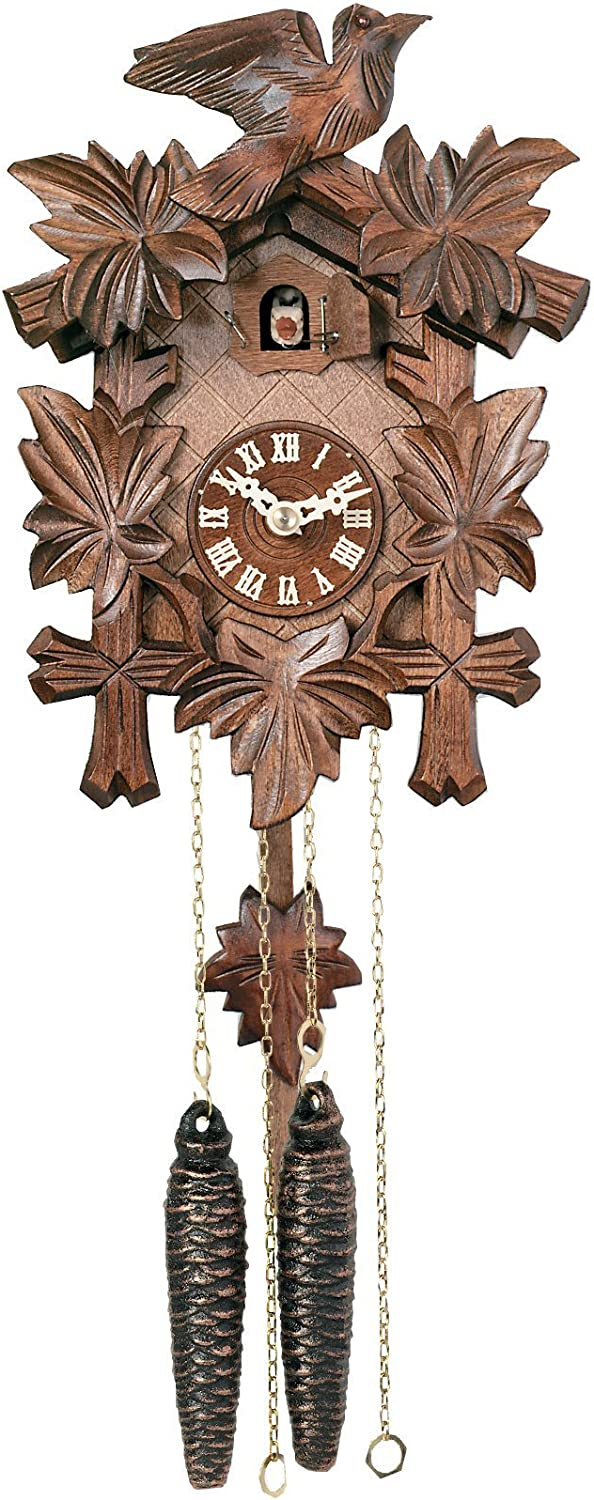 River City Clocks One Day Hand-Carved Cuckoo Clock with Five Maple Leaves & One Bird - 9 Inches Tall - Model # 11-09