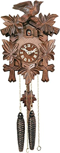 River City Clocks One Day Hand-Carved Cuckoo Clock with Five Maple Leaves One Bird – 9 Inches Tall – Model 11-09