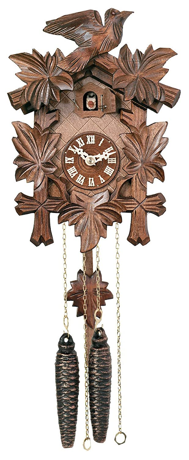 B000GB1Y12 River City Clocks One Day Hand-Carved Cuckoo Clock with Five Maple Leaves & One Bird - 9 Inches Tall - Model # 11-09 71D2BkATZEyS._SL1500_