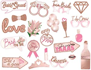 21 Pcs Bachelorette Party Funny Photo Booth Props Supplies, Wedding, Engagement Party, Bridal Shower Decorations, Selfie Props for Girls Night (pink)