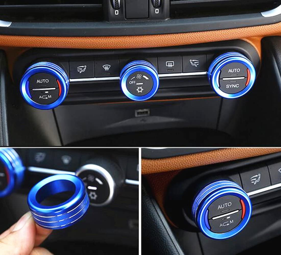 Yuwaton Fit for Alfa Romeo Giulia Stelvio Interior Accessories Car Interior Trim Air Conditioner Knob Cover (Blue)