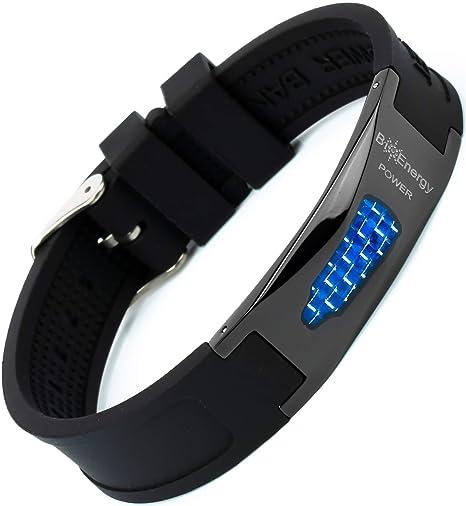 Magnetisches Armband aus Silikon mit Jade Turmalin und Kupfer Titanstahl Power Magnet Gesundheit Energie Germanium 7in1 – Bla