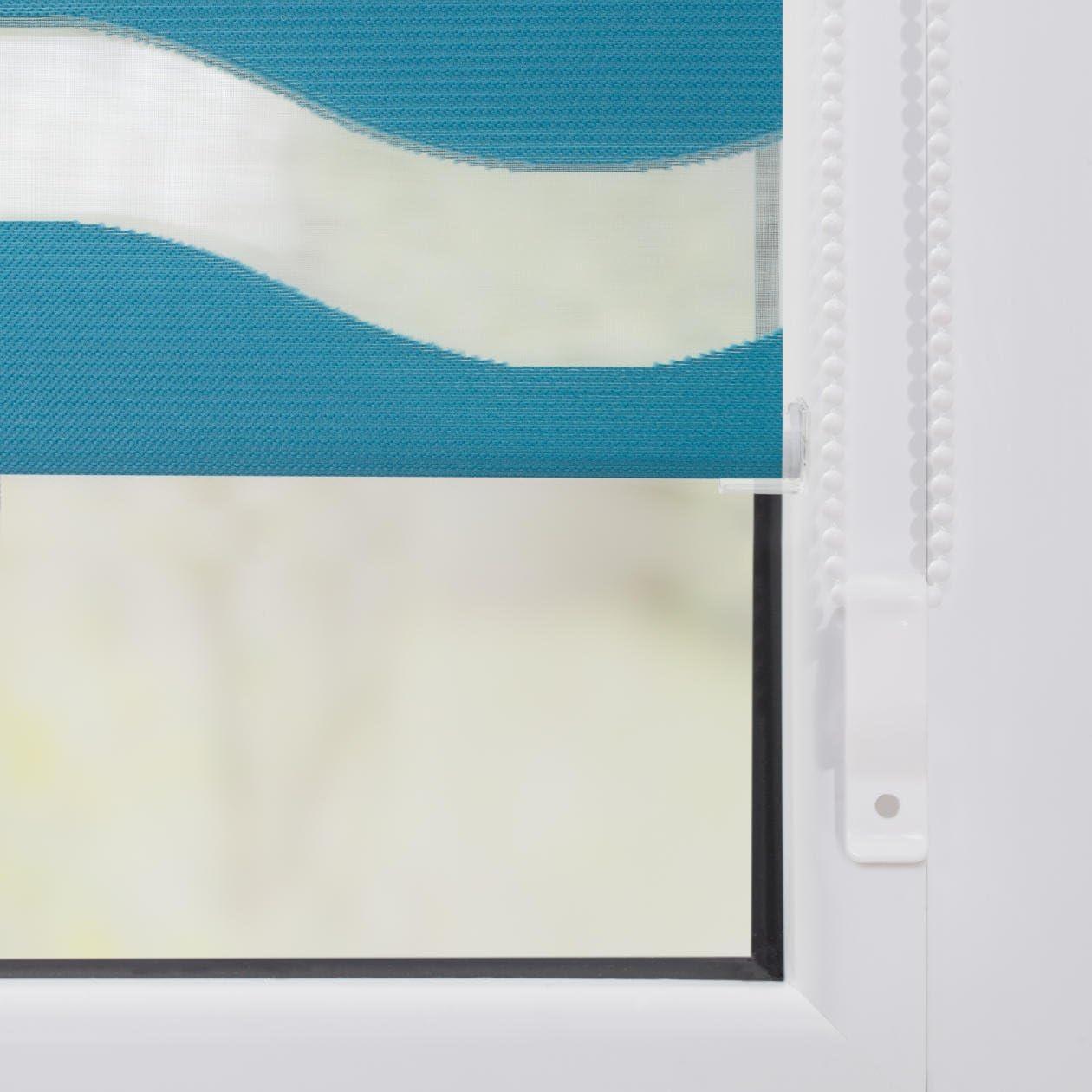 Gris Supports Auto-serrants Polyester Lichtblick Store Duo Motif Vagues B x L 60 cm x 150 cm