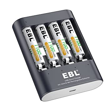 EBL 40 Minutos Cargador Rápida para Ni-MH AA AAA Pilas Recargebles con USB(4 x AAA 1100mAh incluidos)