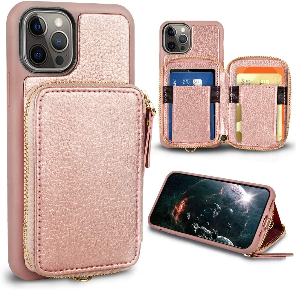 ZVE Wallet Case Compatible with iPhone 12/12 Pro 5G, Wallet Case with Card Holder Slot Zipper Wrist Strap Purse Leather Case Cover Design for 2020 iPhone 12 Pro/12, 6.1 inch - Rose Gold