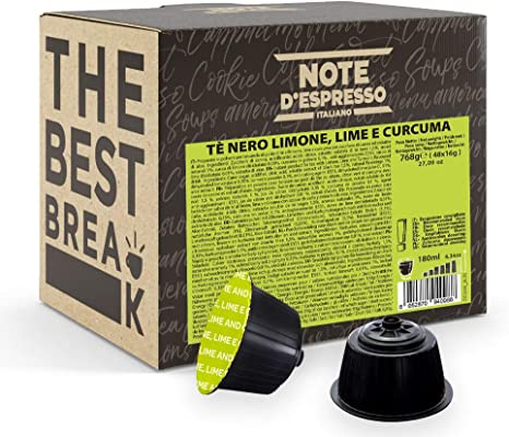 Note dEspresso - Cápsulas de Té Negro con Limón, Lima y Cúrcuma , 48 x 16 g, Total: 768 g