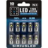 SIRIUSLED Extremely Bright 3030 Chipset LED Bulbs for Car Interior Dome Map Door Courtesy License Plate Lights Compact…