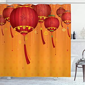 Ambesonne Lantern Shower Curtain, Chinese Lanterns Hang on The Air New Year Art Style Design Image Print, Cloth Fabric Bathroom Decor Set with Hooks, 70