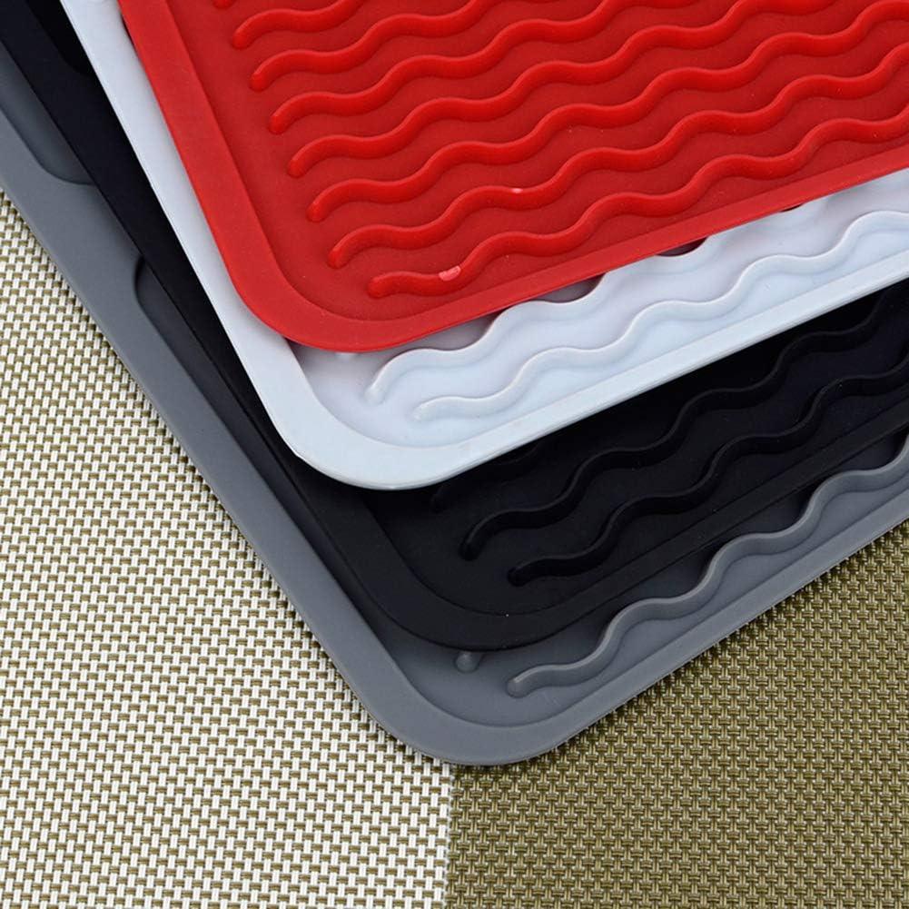 aislamiento t/érmico rectangular 40 * 30.5cm azul antideslizante alfombrilla de secado de platos Escurreplatos plegable de silicona para cocina accesorio para fregadero
