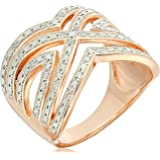 Rose Gold Plated Sterling Silver Two Tone Diamond Ring (1/10 cttw, I-J, I2-I3), Size 7