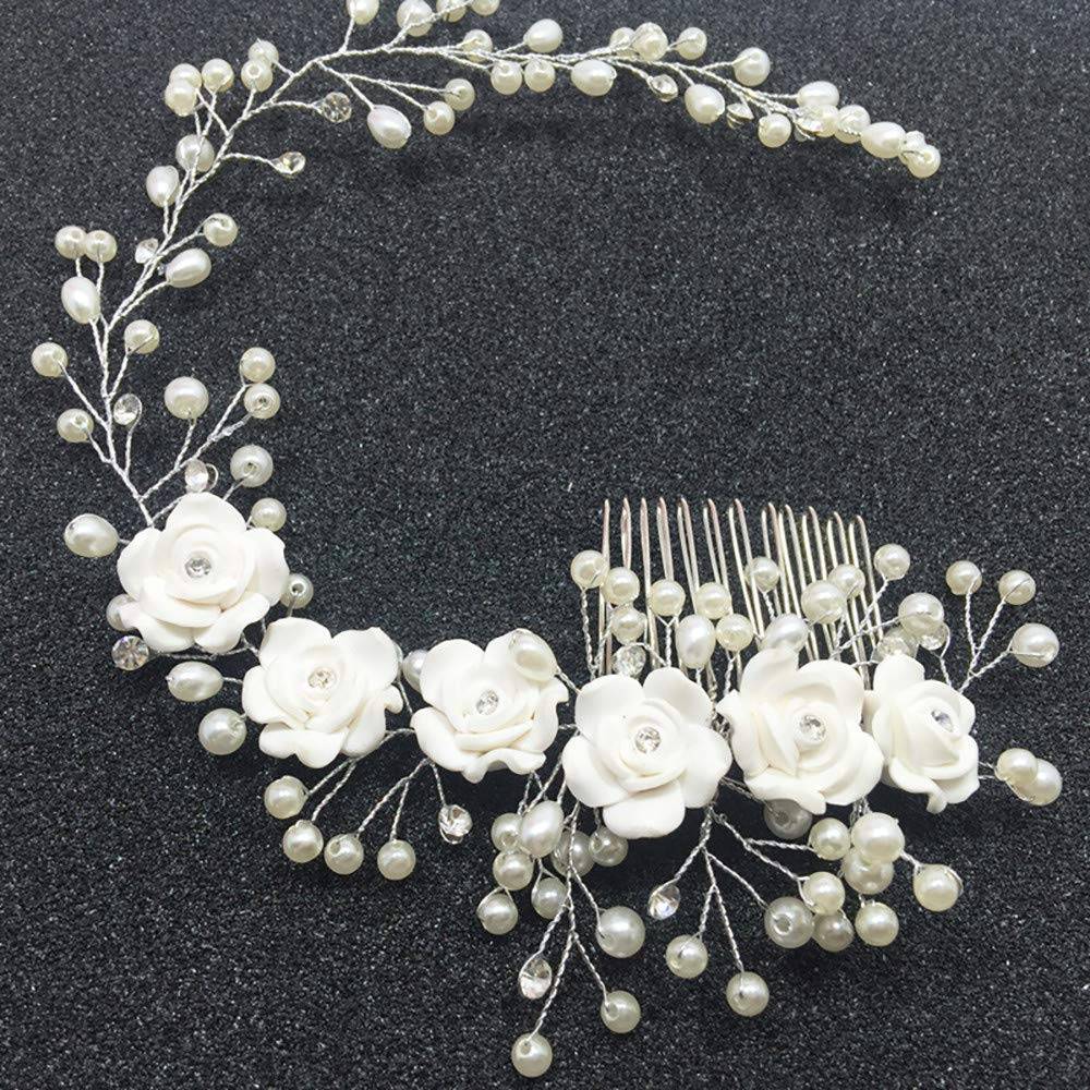 USHOT Bridal Tiara Flower Comb Comb Princess Hair Comb Wedding Tiara Hairpin