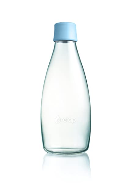 Retap ApS Botella de Vidrio de borosilicato, pequeña, Azul Celeste, 0.8