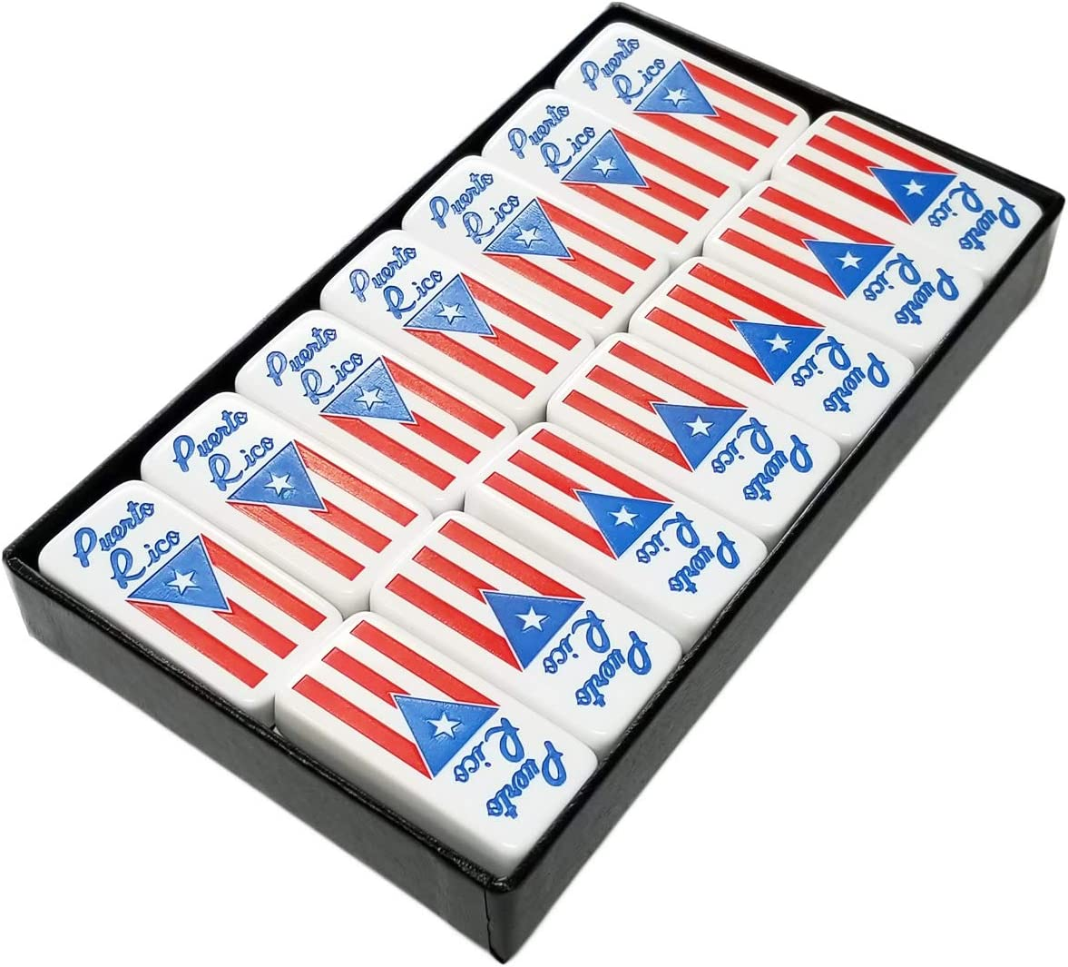 Marion White Double Six Domino with Puerto Rico Flag Engraved in Arcadian Paper Covered Box