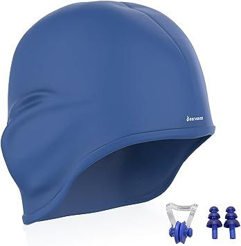 Earwaves ® H2O - Gorro de natación ergonómico con cavidad para Orejas. Gorro de Piscina para Hombre