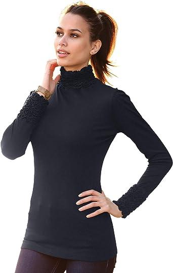 TALLA L. Camiseta de Cuello Alto y Manga Larga Fruncida en los Hombros Mujer by - 017899