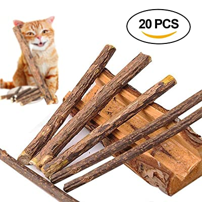 20 unids Cat Catnip Dientes de limpieza de Plata NaturalVita Matatabi Dental Chew Sticks Dientes de molienda Snacks Food Treats Juguetes