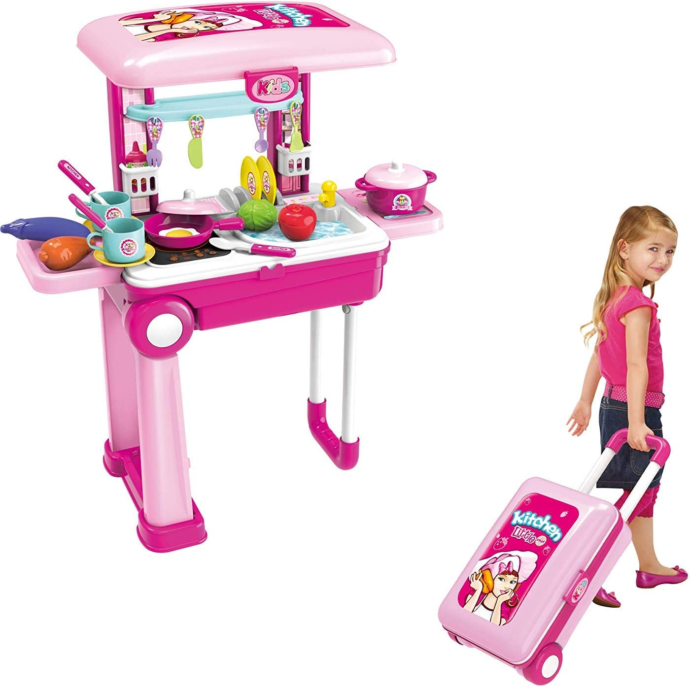 Artisan Sound /& Accessories JOYSAE Toys/&Gift 2 in 1 Toy Playset Travel Trolley Case w// Extended Handle Carrying Case Play Set Unisex Kitchen //Doctor//Dresser// Artisan//Craftsman Set Light