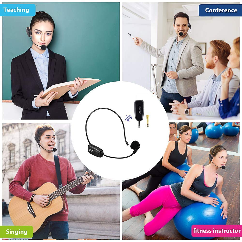Wireless Microphone Headset 2.4G Wireless Microphone Headset Mic For Voice Amplifier,Speaker, Karaoke, Computer, Teaching, Meeting,Yoga, Singing by Hafone