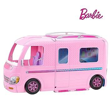 size 7 for whole family differently Barbie Mobilier Camping-Car Transformable pour poupées, véhicule de +60 cm  incluant deux hamacs, accessoires et piscine, jouet pour enfant, FBR34