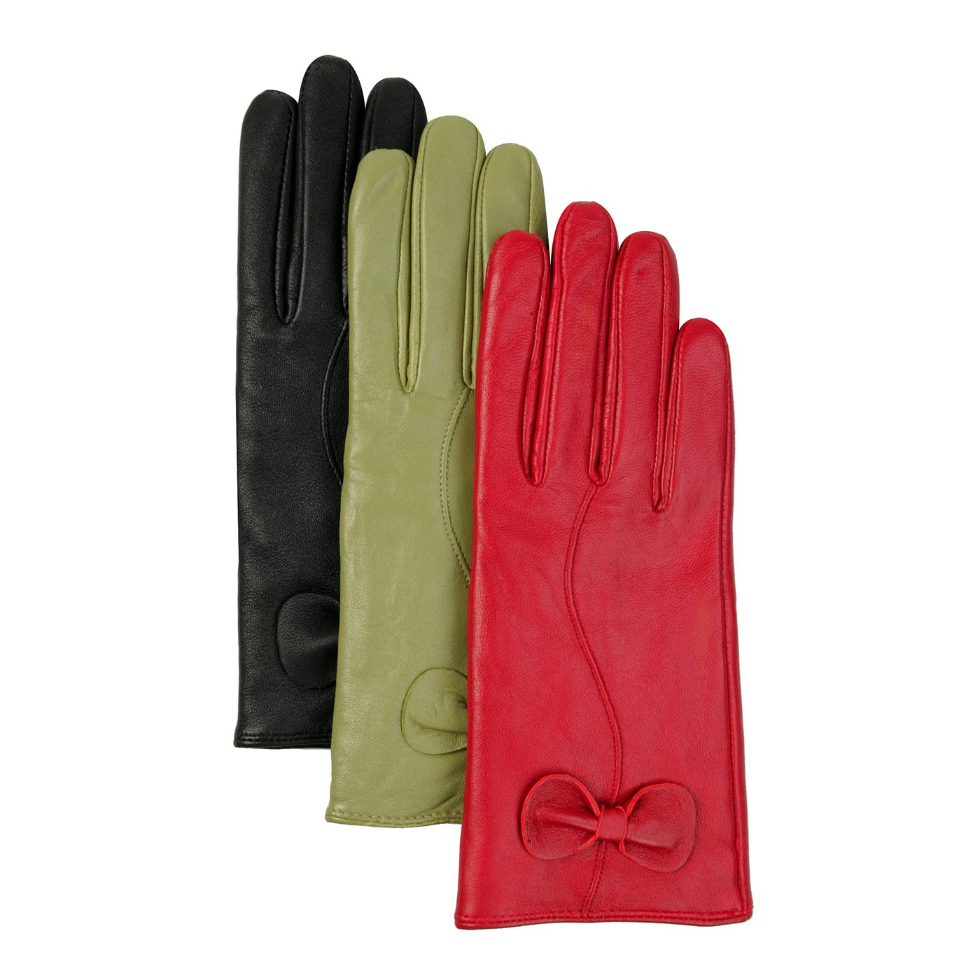 Luxury Lane Women's Cashmere Lined Lambskin Leather Gloves with Bow - Green Small