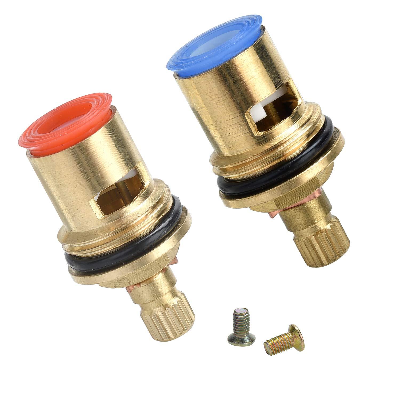 Yizhet Quarter Turn Tap Valves//Cartridges with Metal Lever Heads 1//2 for Kitchen Bathroom Faucet Bid Tap Chrome 2 Cartridge//20 Teeth x 53mm