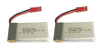 Outletdelocio Pack 2 Baterias Lipo 3,7v 600Mah 30C con Toma Bec ...