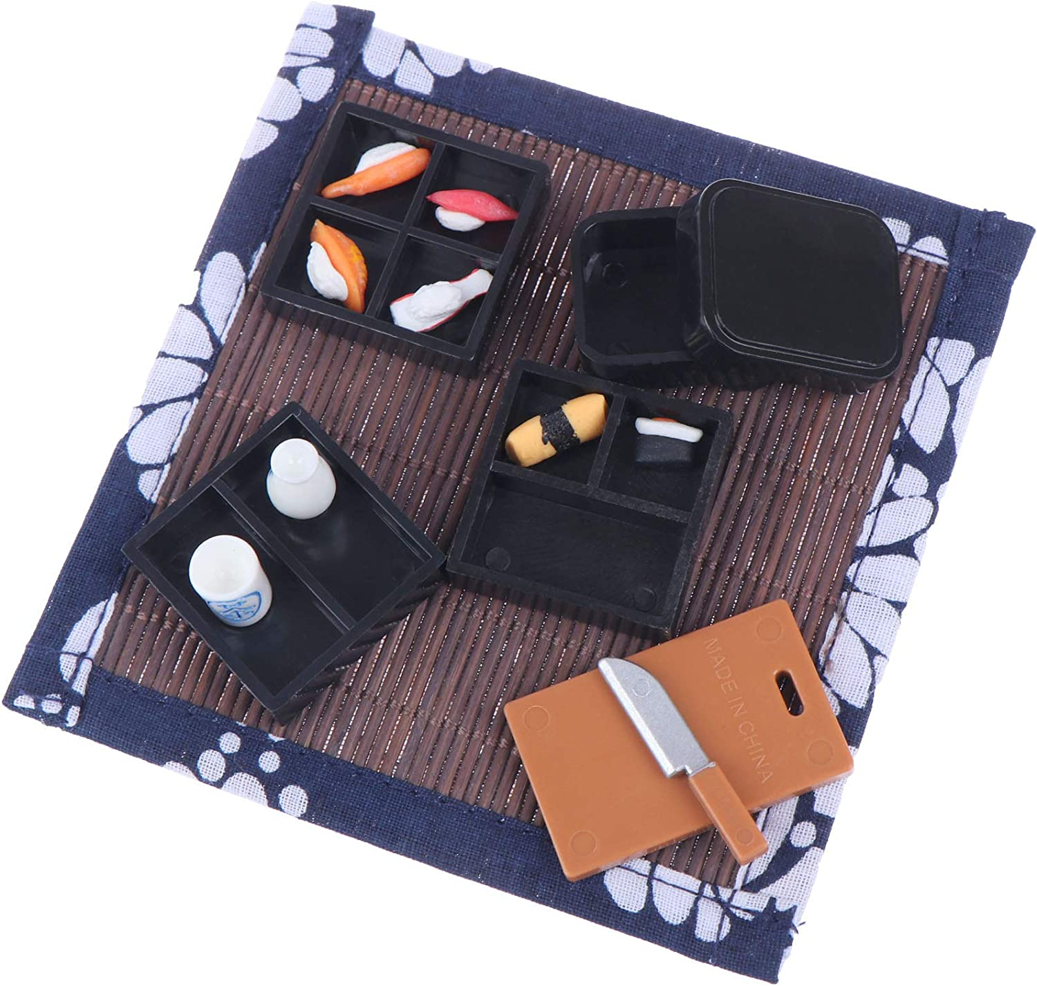 Dollhouse Miniature Food Set Sushi Miniature Figurines Japanese Food Sushi Toys Accessories Doll House Tableware Decoration Kids Pretend Play Dollhouse Kitchen Accessories