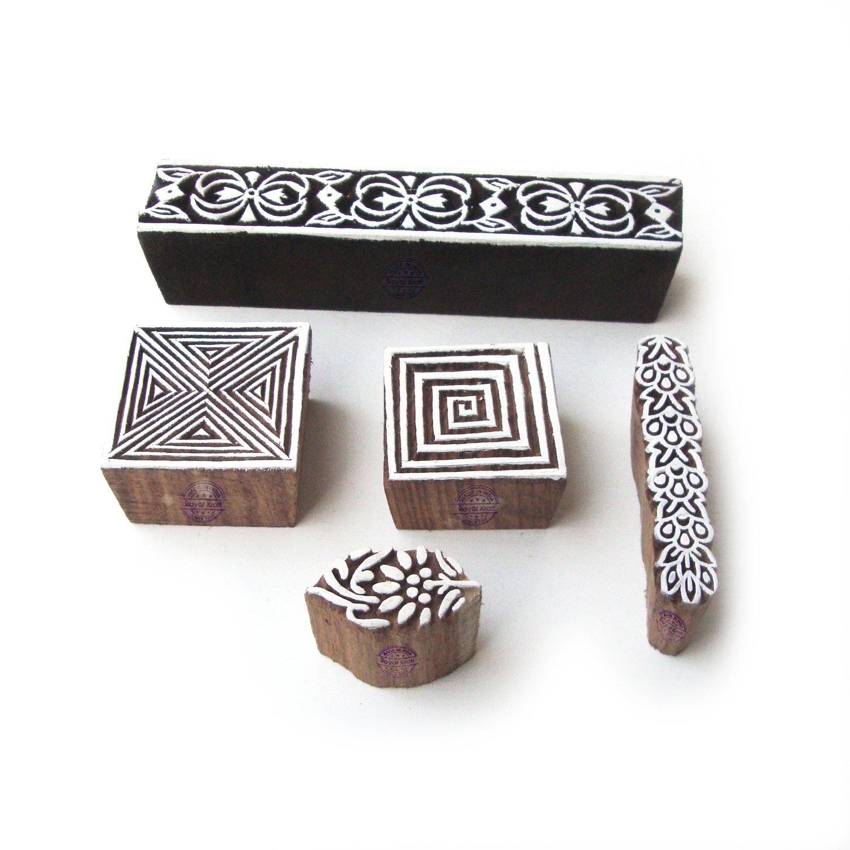 Decorative Spiral and Border Pattern Wooden Printing Blocks (Set of 5)