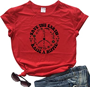 fpengfashion Save The Earth Raise A Hippie - Camiseta de Manga Corta para Mujer Rojo Rosso M: Amazon.es: Ropa y accesorios
