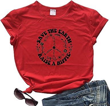 fpengfashion Save The Earth Raise A Hippie - Camiseta de Manga Corta para Mujer Rojo Rosso M: Amazon.es: Ropa y accesorios